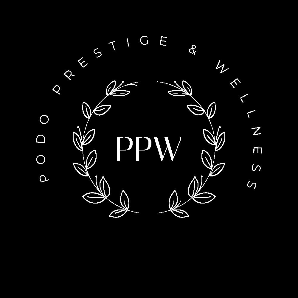 logo podo prestige & wellness białe